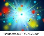 blue glitter particles... | Shutterstock .eps vector #607193204