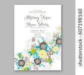 elegant yellow rose wedding... | Shutterstock .eps vector #607198160