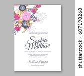 elegant yellow rose wedding... | Shutterstock .eps vector #607198268