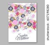 elegant yellow rose wedding... | Shutterstock .eps vector #607198280