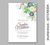 elegant yellow rose wedding... | Shutterstock .eps vector #607198304