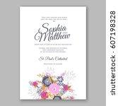 elegant yellow rose wedding... | Shutterstock .eps vector #607198328