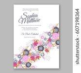 elegant yellow rose wedding... | Shutterstock .eps vector #607198364