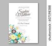 elegant yellow rose wedding... | Shutterstock .eps vector #607198388