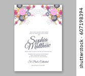 elegant yellow rose wedding... | Shutterstock .eps vector #607198394