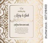 antique baroque luxury wedding... | Shutterstock .eps vector #607198400