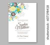 elegant yellow rose wedding... | Shutterstock .eps vector #607198418