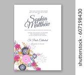 elegant yellow rose wedding... | Shutterstock .eps vector #607198430