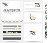 set of invitations save the... | Shutterstock .eps vector #607198478