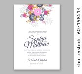 elegant yellow rose wedding... | Shutterstock .eps vector #607198514