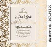 antique baroque luxury wedding... | Shutterstock .eps vector #607198520