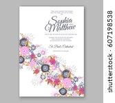 elegant yellow rose wedding... | Shutterstock .eps vector #607198538
