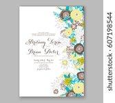 elegant yellow rose wedding... | Shutterstock .eps vector #607198544