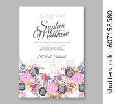 elegant yellow rose wedding... | Shutterstock .eps vector #607198580