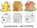 three different cute houses. a... | Shutterstock . vector #607199948