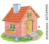 a cute house made of bricks.... | Shutterstock . vector #607199990
