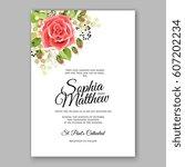red rose wedding invitation... | Shutterstock .eps vector #607202234