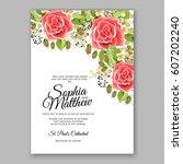 red rose wedding invitation... | Shutterstock .eps vector #607202240