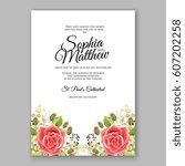 red rose wedding invitation... | Shutterstock .eps vector #607202258