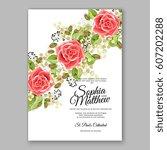red rose wedding invitation... | Shutterstock .eps vector #607202288