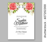 red rose wedding invitation... | Shutterstock .eps vector #607202300