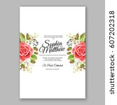 red rose wedding invitation... | Shutterstock .eps vector #607202318