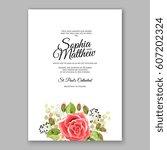 red rose wedding invitation... | Shutterstock .eps vector #607202324