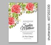 red rose wedding invitation... | Shutterstock .eps vector #607202330
