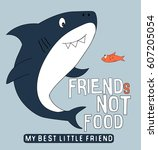 shark and fish illustration... | Shutterstock .eps vector #607205054