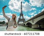 woman tourist selfie near the... | Shutterstock . vector #607211708