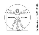 vitruvian man on a white... | Shutterstock .eps vector #607212398