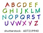 letters in the colored font... | Shutterstock .eps vector #607219940