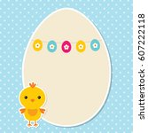 easter vector  card with a... | Shutterstock .eps vector #607222118