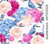 flowers and birds seamless | Shutterstock .eps vector #607222520