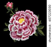 embroidery with ethnic  peony.... | Shutterstock .eps vector #607223030