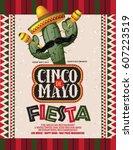 cinco de mayo fiesta sombrero ... | Shutterstock .eps vector #607223519