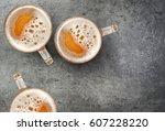 Beer Mugs On Gray Table  Top...