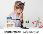 little girl is behind the desk. ... | Shutterstock . vector #607230710