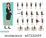 set of business woman character ... | Shutterstock .eps vector #607232459