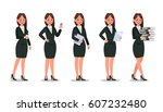 set of business woman character ... | Shutterstock .eps vector #607232480