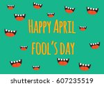 april fool's day  typography ... | Shutterstock .eps vector #607235519