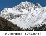 Winter moutain view detail, Solda, Italy - stock photo