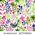 watercolor texture with flowers ... | Shutterstock . vector #607240064