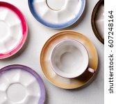 empty colorful porcelain... | Shutterstock . vector #607248164