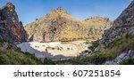 panoramic view of sa calobra  ... | Shutterstock . vector #607251854