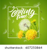 inscription spring time. vector ... | Shutterstock .eps vector #607253864