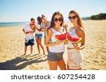 group of friends having fun...   Shutterstock . vector #607254428