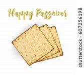 matzah bread  realistic vector... | Shutterstock .eps vector #607256198