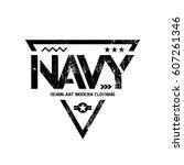 modern american navy grunge... | Shutterstock .eps vector #607261346