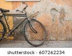 vintage workers bike leaning...   Shutterstock . vector #607262234